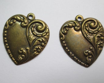 2 Vintage Stamped Hearts
