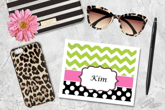 Personalized Stationery - Chevron Note Cards - Notecards - Chevron Note Cards, Thank You Notes - Dots - Chevron, Custom Thank you notes