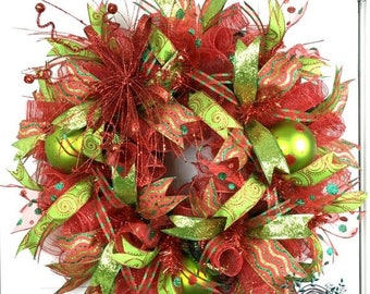 ON SALE Christmas Deco Mesh Wreath - Christmas Wreath - Christmas Decor - Door Decor - Christmas - Glitter - Red - Green - Door Wreath