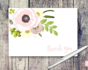 Pink Poppies Note Card | Pink Poppies Thank You Cards | Thank You Card Set | Floral Note Card Set