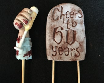 Over the Hill Zombie Cake Topper