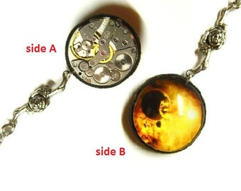 """Surprise steam punk jewellery gift, Steampunk pendant """"Big Bang"""", Small necklace with two faces, old clockwork, print under magnifying glass"""