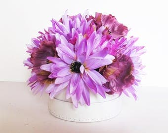 Table Decor Silk Poppies Asters Decor Light Purple Decoration Silk Flowers Reception Artificial Flowers Table Centerpiece Flower Fabric