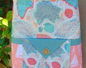 Quilted Cross-Body Shoulder Bag, Turquoise and Coral, Beach Theme