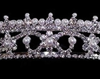 Style # 16001 - Equisite Pearl Tiara with Combs