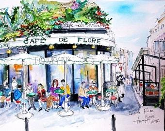 CAFE De FLORE PARIS. Boulevard  St Germain. French Wall Art, Paris watercolor painting,Parisian Cafe  France. Original.