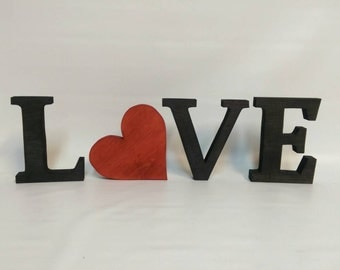 LOVE freestanding black shelf letters. 5 inches tall.