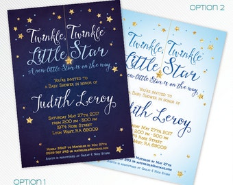 Navy blue, sky and gold glitter Twinkle, twinkle, little star baby shower printable invitation, digital invitation