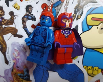 Magneto and Mistique minifigure dangle earrings jewellery Marvel xmen villains Comics fits with lego