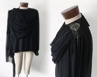 Vtg WAYNE CLARK beaded blouse - DRAPE - sz M