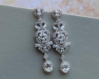 Art Deco earrings Zircon  Bridal Earrings Bridal stud Earrings Drop Crystal Earrings Crystal Teardrop Earrings Wedding Jewellery Gold Silver