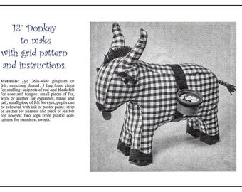 """Vintage sewing pattern for a 12"""" toy donkey with panniers for sweeties download just 75p jpg and pdf including pattern grid"""