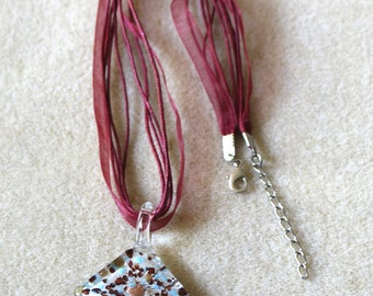 Dark Red Organza Cord and Ribbon Necklace With Speckled Glass Pendant,Organza Ribbon Necklace,Glass Pendant Necklace.