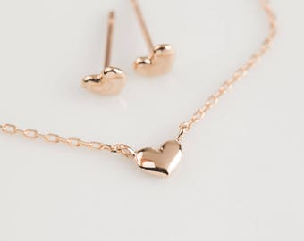 Valentine's day gift, 14k rose gold tiny heart earrings heart bracelet set, heart jewelry, heart jewelry set, 14k rose gold, hea-be101 RTS