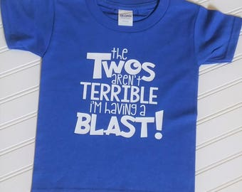 The Twos aren't Terrible, I'm Having a Blast Birthday Shirt, Boys 2nd Birthday Shirt, Girls 2nd Birthday Shirt, Childrens 2nd Birthday Shirt
