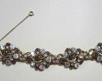 "Vintage Jewelry - ""Florenza""  Rhinestone Bracelet - Signed - Ornate Design"