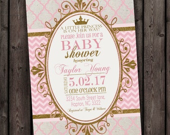pink gold princess baby shower invitation, pink and gold, baby shower invite digital file or printed with envelopes, customized wording FAST
