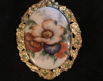 Antique Floral Hand Painted Porcelain Brooch
