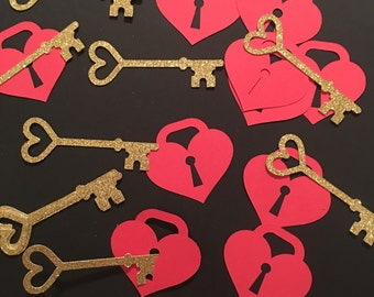 Key and Heart confetti