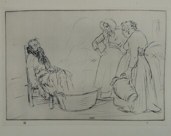 "Antique Edmund Blampied Dry Point Etching Print ""The Sick Man"" c. 1926"