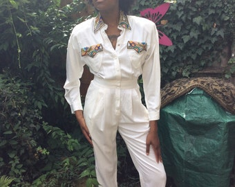 Vintage white sequined jumpsuit