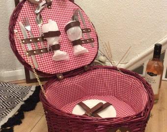 Vintage red valentine picini basket