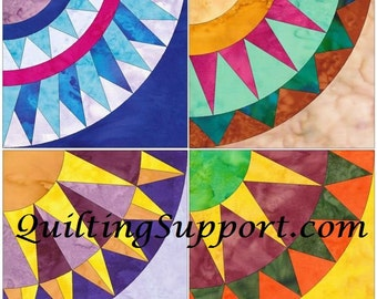 10 Inch New York Beauty Set 2 Paper Foundation Piecing Quilting 4 Block Patterns PDF