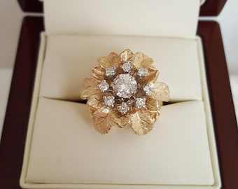Vintage 50s Diamond Ring in Heavy 14k Floral Basket Weave Mount -EB642
