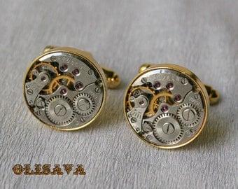 Watch Movement Cufflinks  ,  Steampunk Cufflinks . Steampunk jewelry ,  Vintage Clockwork Watch Movement Cuff Links - Gold