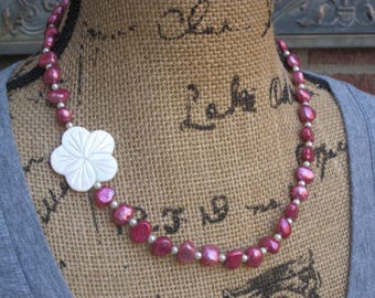 freshwater pearl necklace mother of pearl flower necklace pink jewelry cottage chic happy chic beach spring colors Lavish Lucy Designs