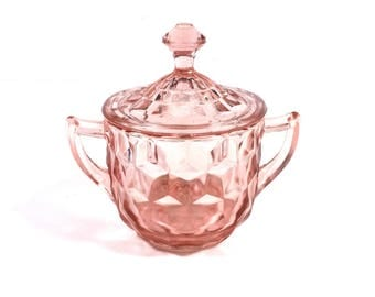 Vintage 'Cube' Pink Glass Sugar Bowl with Lid by Jeannette Glass