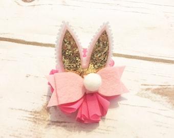 Easter Hair Clip - Bunny Hair Clip - Pink - Easter Bunny Hair Bow - Baby Hair Clip - Toddler Hair Clip - Felt Hair Clip - Spring Hair Clip