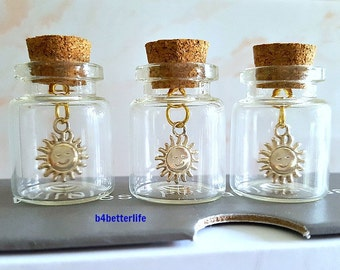 "Lot Of 3pcs Gold Color ""Sun"" Metal Charm In A Mini Glass Bottle With Cork. #CIB187XX."