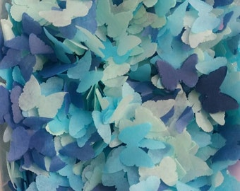 Biodegradable Blue ombre & Mint Butterfly Wedding throwing confetti