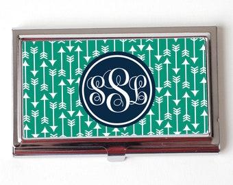 business card holder - fancy monogram geometric  seamist navy