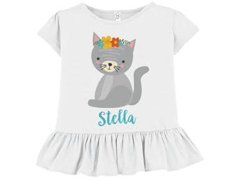 Personalized Girls Shirt - White Ruffled Tshirt - Gray Cat Floral