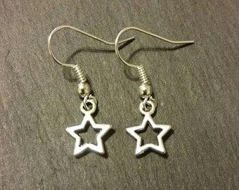 Petite Silver Star Charm Earrings
