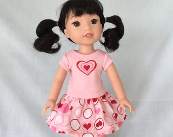 Heart T-Shirt and Heart Print Skirt for Wellie Wisher/14.5 Inch Doll