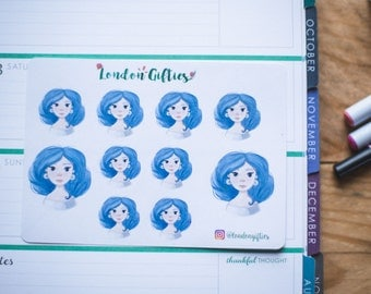 Blue haired girl - decorative watercolour planner stickers suitable for any planner -275-