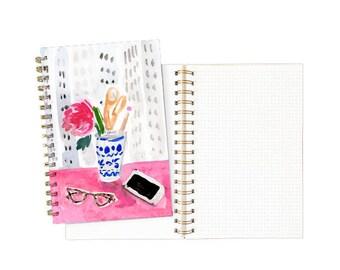 Gold Spiral Notebook: Desk Vignette