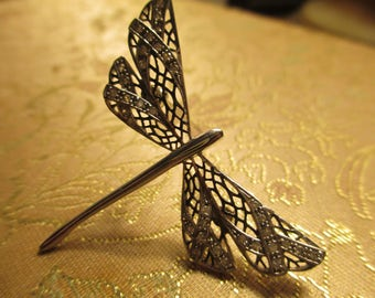 Dragonfly Pin by KL in Sterling Silver
