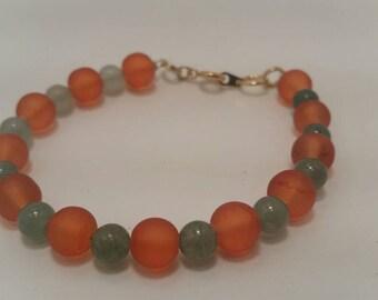 Adventurine and Orange Glass Bracelet