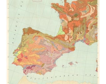 Geologic Map of Spain and Portugal Print
