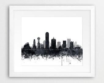 Dallas Skyline Print, Texas Cityscape, Dallas Watercolor Grey Black White, Modern Wall Art, Travel Poster, Home Office Decor, Printable Art