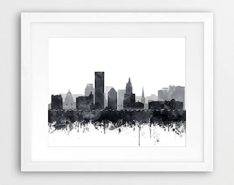 Providence City Print, Providence Skyline, Providence Rhode Island Watercolor Cityscape, Modern Wall Art, Home Decor, Travel Printable Art