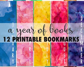 Printable watercolor bookmarks, calendar bookmarks, set of 12 monthly bookmarks, book lover gift, instant download digital collage sheet