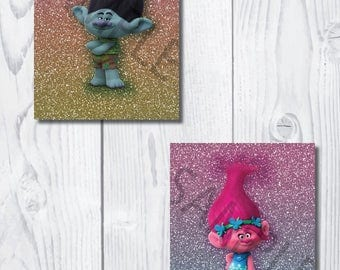 Trolls Glitter Wall Art Bundle, 6 images, 8x10, DIGITAL FILE ONLY, temporary price reduction!