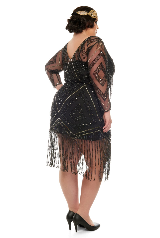 Plus Size Betty Black Fringe Dress With Sleeves Slip
