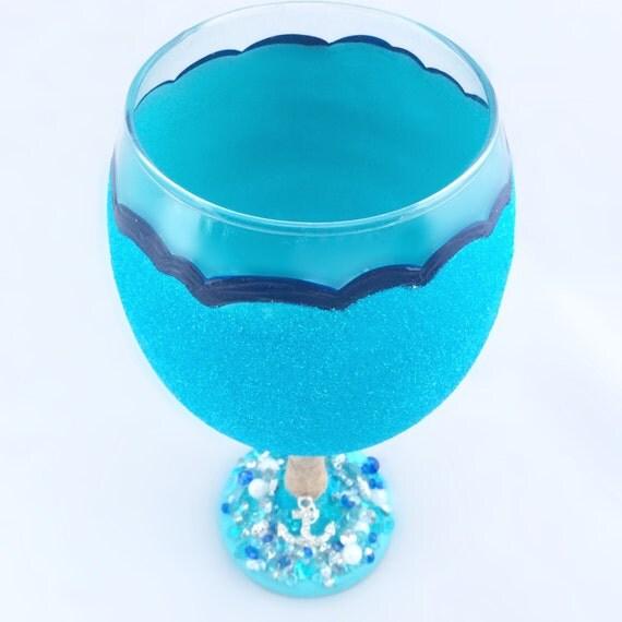 Nautical Anchor Glitter Aquamarine Ocean Waves Wine Glass