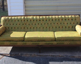 Mid Century green tufted large couch